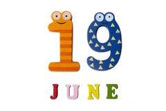 19 juni Beeld 19 Juni, op een witte achtergrond Stock Fotografie