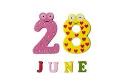 28. Juni Bild am 28. Juni, auf einem weißen Hintergrund Lizenzfreies Stockbild