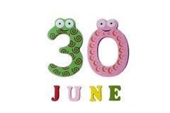 30. Juni Bild am 30. Juni, auf einem weißen Hintergrund Stockbilder