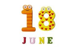 18. Juni Bild 18 von Juni, auf einem weißen Hintergrund Stockfotografie