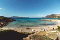 15 juni, 2016, Carrer Sant Joan, Mallorca, Spanje - Sant Joan Beach Royalty-vrije Stock Fotografie