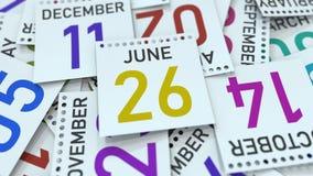 Juni 26 datum på den betonade kalendersidan, tolkning 3D vektor illustrationer