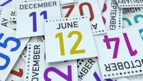Juni 12 datum på den betonade kalendersidan, tolkning 3D stock illustrationer