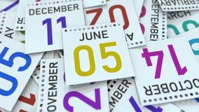 Juni 5 datum på den betonade kalendersidan, tolkning 3D stock illustrationer