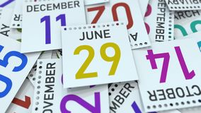 Juni 29 datum på kalenderbladet bland andra sidor, tolkning 3D vektor illustrationer