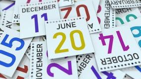 Juni 20 datum på kalenderbladet bland andra sidor, tolkning 3D stock illustrationer