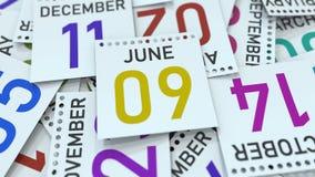 Juni 9 datum på kalenderbladet bland andra sidor, tolkning 3D stock illustrationer