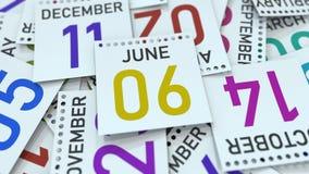Juni 6 datum på kalenderbladet bland andra sidor, tolkning 3D vektor illustrationer