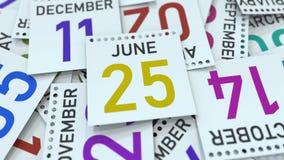 Juni 25 datum p? kalenderbladet framf?rande 3d vektor illustrationer
