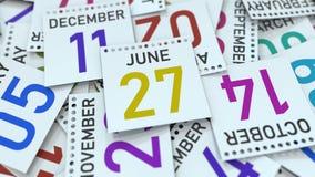 Juni 27 datum p? kalenderbladet framf?rande 3d stock illustrationer