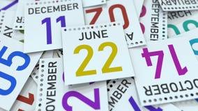 Juni 22 datum p? kalenderbladet framf?rande 3d royaltyfri illustrationer