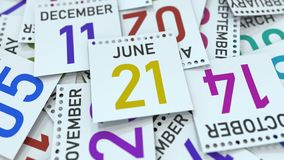 Juni 21 datum p? kalenderbladet framf?rande 3d royaltyfri illustrationer