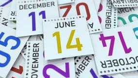 Juni 14 datum p? kalenderbladet framf?rande 3d stock illustrationer