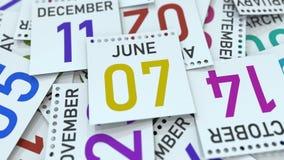Juni 7 datum p? kalenderbladet framf?rande 3d vektor illustrationer