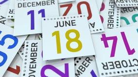 Juni 18 datum p? kalendersidan framf?rande 3d royaltyfri illustrationer