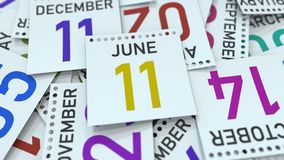 Juni 11 datum p? kalendersidan framf?rande 3d stock illustrationer