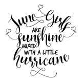 Juni-de meisjes zijn zonneschijn met een kleine orkaan wordt gemengd die stock illustratie