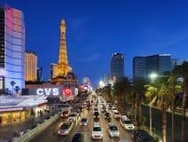01 juni, de strook van Las Vegas van 2016 bij schemer in Nevada, Las Vegas, de V.S. Royalty-vrije Stock Foto's