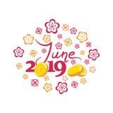 Juni 2019 Dollar und Euro Guter Monat stock abbildung