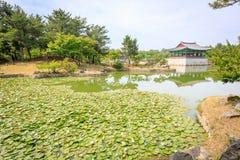 Juni 22, 2017 Donggung slott och Wolji damm i Gyeongju, södra K Fotografering för Bildbyråer