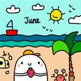 Juni-Handgezogene Illustration mit nettem Eibisch auf dem Strand lizenzfreie abbildung