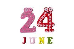 24 juni Het beeld van 24 Juni, op een witte achtergrond Stock Foto's