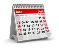 Juni 2018 - Kalender vector illustratie