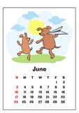 Juni 2018 kalender stock illustrationer