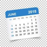 Juni 2018 kalender Mall för kalenderklistermärkedesign Veckastart royaltyfri illustrationer