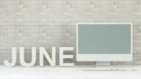 Juni kalender med dator- och tegelstenväggbakgrund - 3D Rende Fotografering för Bildbyråer