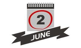2. Juni Kalender mit Band Lizenzfreie Stockfotos