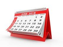 Juni 2018 Kalender op witte achtergrond 3D Illustratie Stock Afbeelding