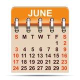 Juni-kalender van het jaar van 2018 - stock illustratie