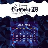 Juni 2019 kalendermall stock illustrationer