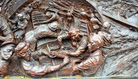 21 Juni 2015, Londen, het UK: Fragment van goed bewerkt oorlogsgedenkteken voor de slag van Groot-Brittannië, in het geheugen van Stock Afbeelding