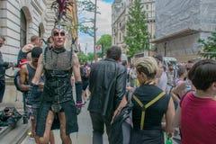 27 Juni, 2015, London, UK, manuppklädd för London stolthet Arkivfoton