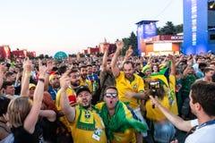 27 Juni 2018, Moskou, Rusland De Braziliaanse verdedigers vieren vic stock fotografie