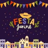 Juni parti av Brasilien, ljus natt bakgrunden med koloniala hus, kyrka, ljus och kulöra flaggor och orden royaltyfri illustrationer