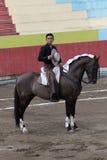 18 juni, 2017, Pujili, Ecuador: een horseback het berijden torreador cal Royalty-vrije Stock Foto