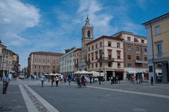 10 juni 2016 rimini-Italien-Tre Martiri fyrkant i rimini i den Emilia Romagna regionen Royaltyfri Bild