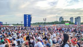 Juni 2018, rysk federation, Tatarstan, Kazan Fanfestomr?de 1/8 fotbollv?rldscup royaltyfri bild