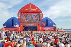 Juni 2018, rysk federation, Tatarstan, Kazan Fanfestomr?de 1/8 fotbollv?rldscup royaltyfri foto