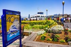 3 juni, 2019 San Francisco/CA/de Blauwe & Gouden Vloot van de V.S. -, de leverancier van baaiveerdienst en de baai kruisen het we stock foto's