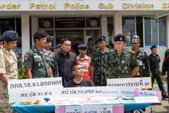 Am 25. Juni 2015 Soldaten und Polizei-Patrouille Sakon Nakhon, thailändisch Stockfotografie