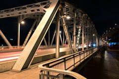 Juni 23ste 2017 Krungthep-Brug Bangkok, Thailand Bascule van de Krungthepbrug brugophaalbrug Bangkok, Thailand Stock Afbeelding