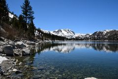 Juni-tijd van de meer de vroege lente stock afbeelding