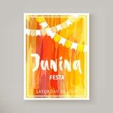 Junina Festa reklamblad stock illustrationer