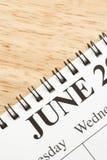 Junio en calendario. Imagen de archivo libre de regalías