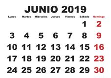 Junio 2019 Spagnoli del calendario murale royalty illustrazione gratis
