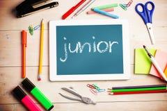 Junior against teal, blue Stock Photo